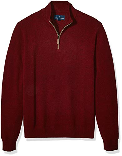 Amazon Brand - Buttoned Down Men's 100% Cashmere Quarter-Zip Sweater, Burgundy, Small
