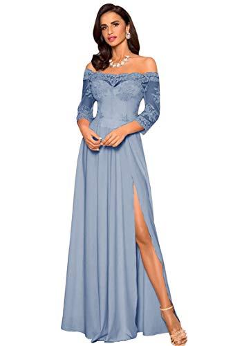 Yilis Women's Off The Shoulder Long Sleeves Prom Dresses A-line Slit Chiffon Bridesmaid Dress Dusty Blue US10