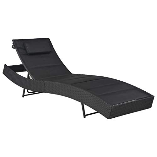 vidaXL Sonnenliege mit Kopfkissen Verstellbarer Rückenlehne Gartenliege Relaxliege Liegestuhl Liege Rattanliege Gartenmöbel Poly Rattan Textilene