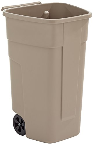 Rubbermaid Commercial Products R002218 - Cubo de basura móvil, capacidad de 100 l, beige