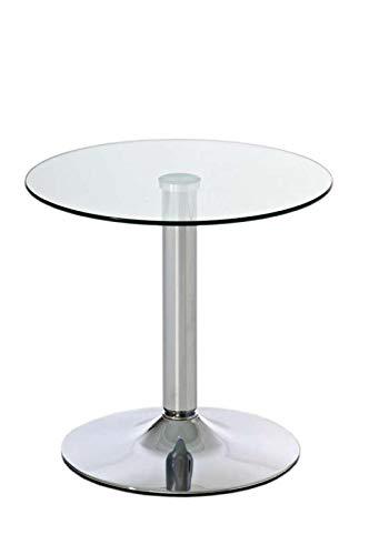 CLP Beistelltisch IKARUS mit Einer runden Tischplatte aus Sicherheitsglas I Stehtisch mit Metallgestell in Chrom-Optik, Farbe:klarglas