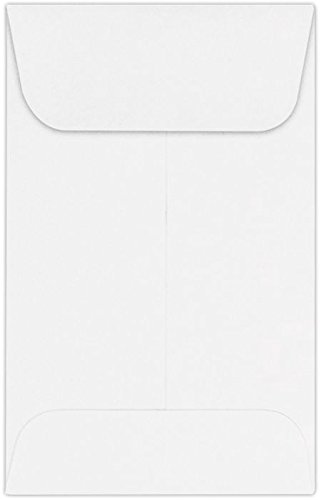 LUXPaper #1 Coin Envelopes in 24 lb. Bright White, Envelopes for Coin Collections, Garden Seeds, Stamps, and More, w/Moistenable Glue, 250 Pack, Envelope Size 2 1/4 x 3 1/2 (White)