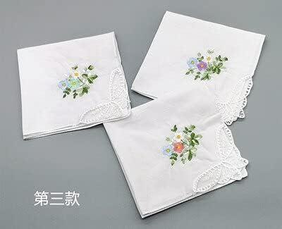 SushiSwap 3pcs Embroidery Flower White Handkerchiefs Ladies Lace Handkerchief Women Cotton Towels Chustki Zakdoek Fazzoletto Mouchoir H09 - See Chart - 541398