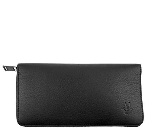 ARMANI JEANS Damen Women Portemonnaie Geldbörse Wallet Leder Leather (Schwarz)