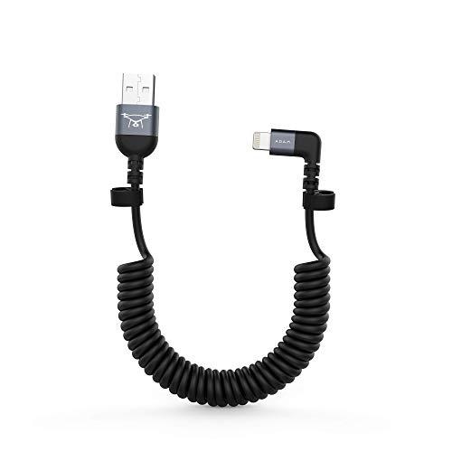 Adam Elements Peak II Triangel Lightning auf USB Kabel für DJI Remote Controller Mavic/Spark / Phantom-Serie - Grau [iPhone & Pad I MFI Zertifiziert I 30cm Lang I Einseitig 90°] - ACBADL30CLGY