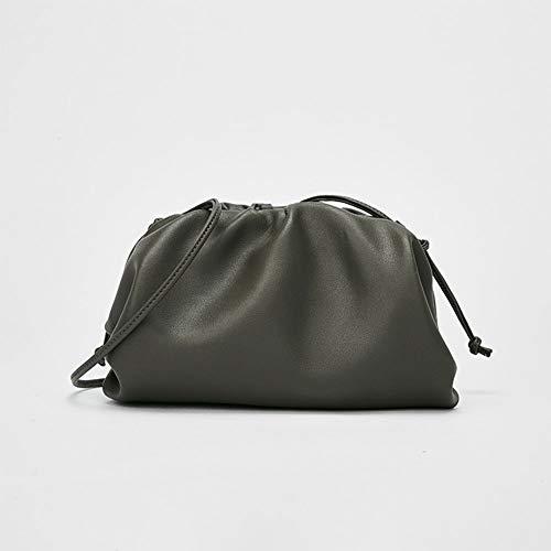 DPGPLP Cloud Bag-Ladies Wild Handtas Fold Clip Handtas Schoudertas-Leer Schoudertas Schouder Handtas, groen