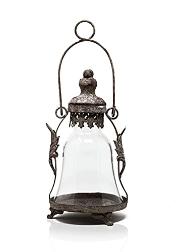 Blümelhuber Windlicht Glas Laterne - Rost Deko für Garten oder für Drinnen - rostige Gartenleuchte zum Stellen oder Hängen