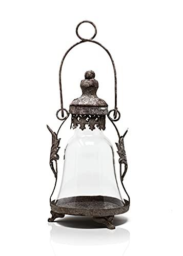 Blümelhuber Farol de cristal – Decoración oxidada para jardín o para interior – Lámpara de jardín oxidada, para colocar o colgar