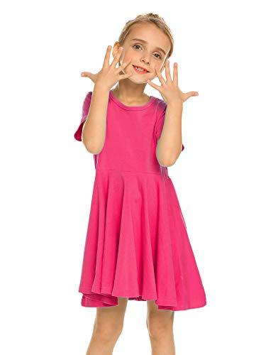 Trudge Mädchen Swing Kleider für Kinder Sommerkleid Hem Skaterkleid Kurzarm T Shirt Kleid Baumwolle Prinzessin Kleid einfarbig Basic FatternKleid Rundhals Freizeitkleidung Gr.92-164, Rose Rot, 150