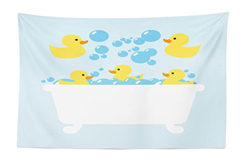 Lunarable Duckies Tapestry, Rubber Poultry Toys Inside a Tub Abstract Cartoon Style Drawing Bubbles, Fabric Wall Hanging Decor for Bedroom Living Room Dorm, 45' X 30', Yellow Blue