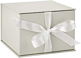 "Hallmark 7"" White Gift Box with Lid and Shredded Paper Fill for Weddings, Mothers Day, Bridesmaids Gifts, Engagements,..."