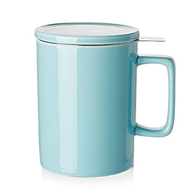 Sweese 205.102 Porcelain Tea Mug with Infuser and Lid - 14 OZ, Turquoise