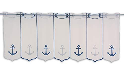 Scheibengardine Anker blau weiß Bestickt Höhe 45cm | Breite der Gardine frei wählbar in 16cm Schritten | Gardine | Panneaux