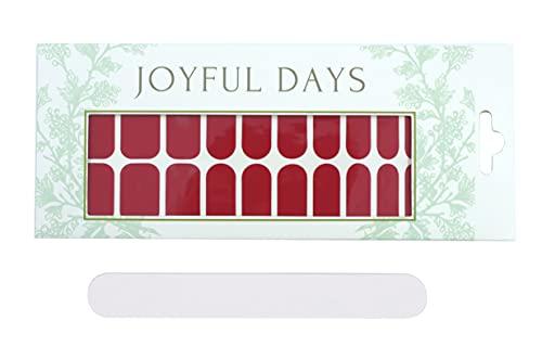 JOYFUL DAYS   20 Tiras de Uñas   Pegatinas de Uñas Decorativas   Nail Polish Strips   No Tóxico   DIY Arte de Uñas Stickers   Incluye Lima de Uñas (Cranberry)