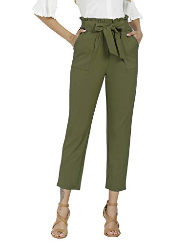 Freeprance Women's Pants Casual Trouser Paper Bag Pants Elastic Waist Slim Pockets XAG_L Army Green