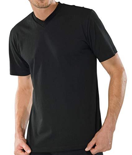 Schiesser 2 Stück American T-Shirt V-Ausschnitt Herren T-Shirt V-Neck - Schwarz: Größe: XXXL (Gr.9)