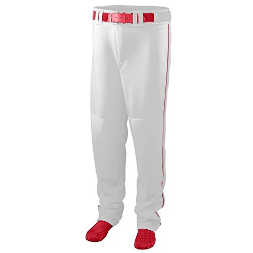 Augusta Sportswear Men's Augusta Series Baseball/Softball Pant with Piping, White/Red, 3X-Large