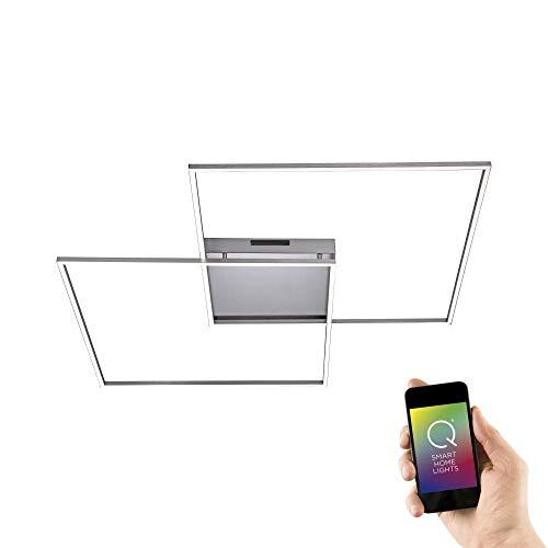 Paul Neuhaus, Q-Inigo, LED Deckenleuchte, 2-flammig, Alexa-fähig, Smart Home, Deckenlampe, Farbtemperatur einstellbar, warmweiss - kaltweiss, quadratisch, stahl