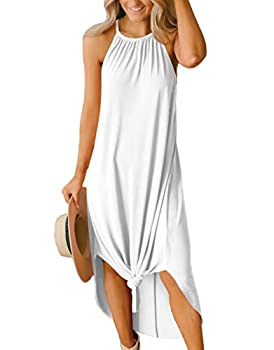 Womens Summer Lightweight Loose Long Cotton Side Slit Halter Maxi White Beach Dress M