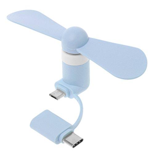GREEN&RARE 2 en 1 tipo C Micro USB Mini ventilador refrigerador para teléfono celular Huawei HTC, adecuado para exteriores interiores, viajes, hogar, oficina