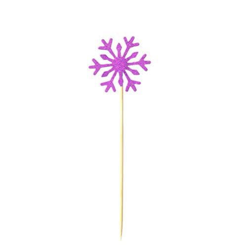 KESYOO 20 Unids Copo de Nieve Cupcake Toppers Glitter Snowflake Frozen Cake Topper Picks para La Fiesta de Cumpleaños de Navidad Baby Shower Decoración de La Torta de Boda Rosa