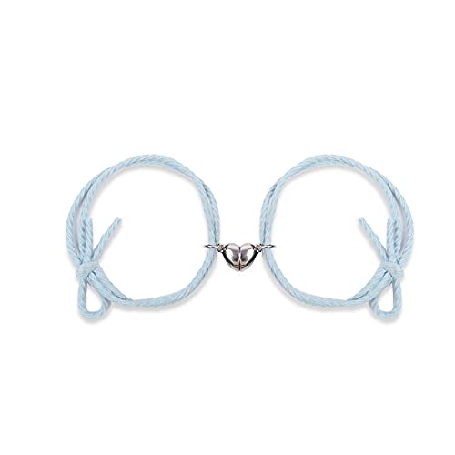 FDSJKD 2 unids/Set Pareja Distancia magnética Pulsera Ajustable Lucky Rojo Cuerda Braidada Heart Hearms Bracelets Amantes Regalos de joyería (Length : Adjust Size, Metal Color : Light Blue Heart)