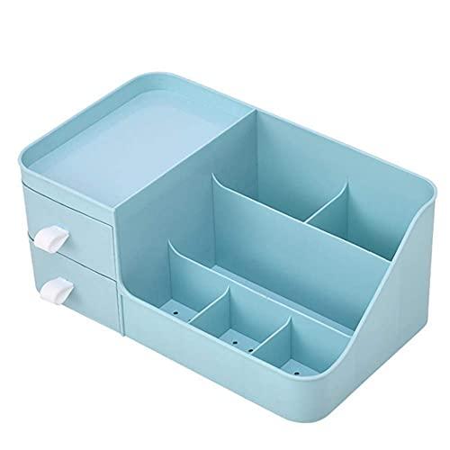 DLILI Caja de Almacenamiento Organizador Caja de Almacenamiento de cosméticos Artículos Diversos de Escritorio Joyero Almacenamiento en el hogar (Azul)