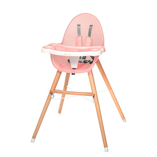 WINNPRIME Baby High Chair, Suitable for Infants/Toddlers, Baby Wooden Dining Chair with Removable Tray and Adjustable Legs, Easy Assembly (Pink)