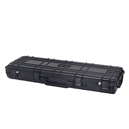 MEIJIA Portable Rolling Waterproof All Weather Hard Rifle Case with Wheels,Foam Inserted, Elegant Black,44.37x15.98x6.1inches(Elegant Black)