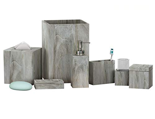 nu steel NuSteel Stone Hedge Resin Bath Accessory Set Vanity Countertop,7 pcs Luxury Ensemble-Cotton Swab, Dish,Toothbrush Holder,Tumbler, soap Pump,Wastebasket,Tissue Box-Marble Finish