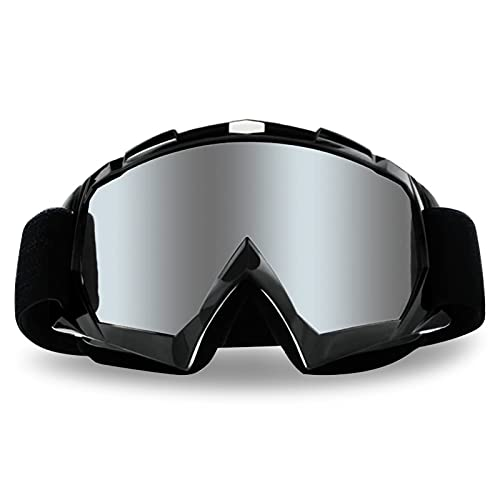Motorcycle Goggles Dirt Bike Goggles 4-FQ Anti UV Safety Goggles Anti Scratch Motocross Goggles Dustproof Motorcycle Glasses Motorbike Goggles for Cycling Riding Climbing Skiing-Sliver Lens