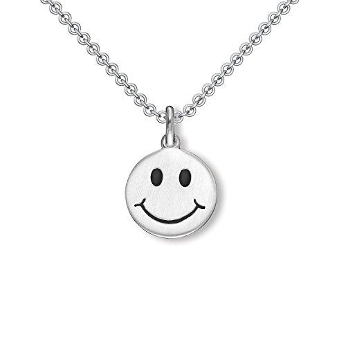 Smiley Kette Gesicht Silber 925 + inkl. GRATIS Geschenkbox + Kette mit lachendem Smiley Anhänger Mädchenkette 925er Silberkette für Mädchen Sonnenschein Kinderschmuck FF547 SS92545