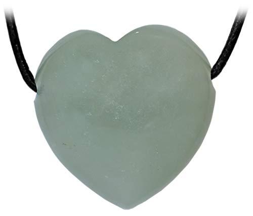 Kaltner Präsente Idea de regalo collar de cuero para hombre y mujer con colgante de corazón hecho de piedra preciosa verde jade diámetro 30 mm