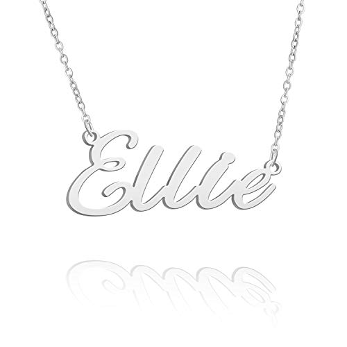BUREI Collar con nombre personalizado para mujer, el mejor regalo para mujeres de entre 14 y 16 a 18 pulgadas