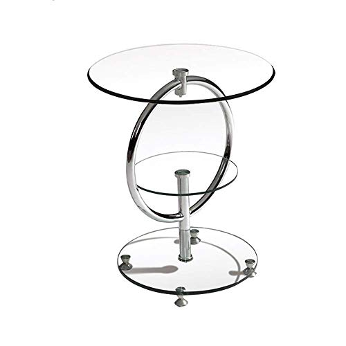 NBVCX Furniture Decoration Round Side Table 3 Layers Tempered Glass Coffee Table Telephone Table Corner Table 50 * 50 * 57CM