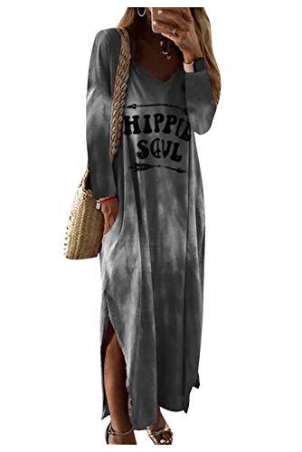 Vestito Lungo Asimmetrico Donna Abito Irregolare Boho Hippie Chic Vestiti Degrade Tie Dye Tunica Maniche Pipistrello Vestitini con Spacco Laterale Abiti Autunno Inverno Caftano Taglie Forti Kaftano