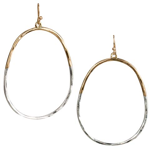 SPUNKYsoul Oval Hoop 2 Toned Earrings for Women (Gold/Silver)