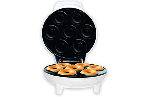 Courant Mini Donut Maker Machine for Holiday, Kid-Friendly, Breakfast or Snack, Desserts & More with Non-stick Surface, Makes 7 Doughnuts, White