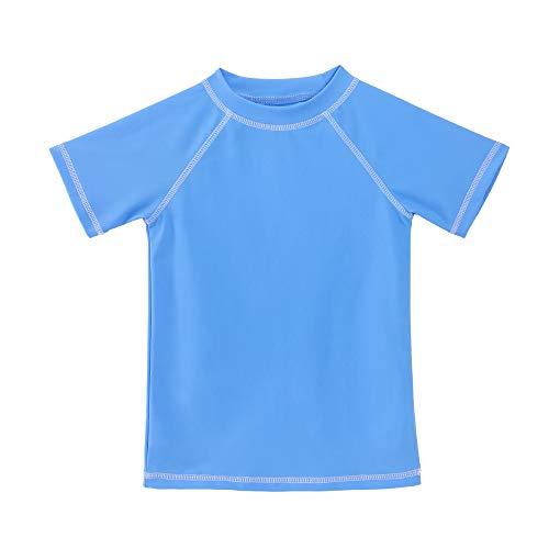 TIZAX Camiseta natación con protección Solar para niños Traje de baño de Manga Corta Rashguard para Surf/Nadando/Buceo/Playa Azul 152