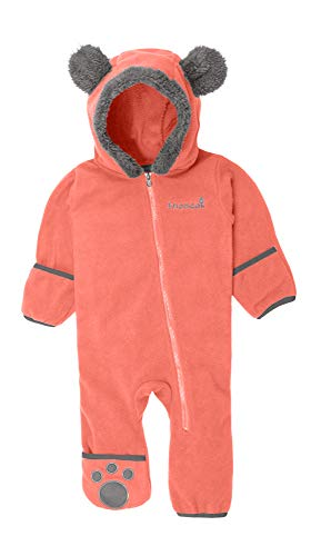Snonook Fleece Baby Bunting Hooded Romper Bodysuit with Fold-Over Mitten and Footed Cuffs, Coral, 6/12 Months