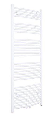 SixBros. R20 Badheizkörper (1500 x 450 mm, Watt 668) – Ovaler Heizkörper mit Handtuchhalter für das Bad - pulverbeschichtet – weiß