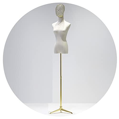 HAIPENG Maniquí Costura Busto Hembra, Altura Ajustable Forma Vestido con Cabeza Hueca Base Trípode, Modelo Ficticio Apoyos Busto para Exhibición Ropa, 3 Estilos (Color : Gold, Size : A)