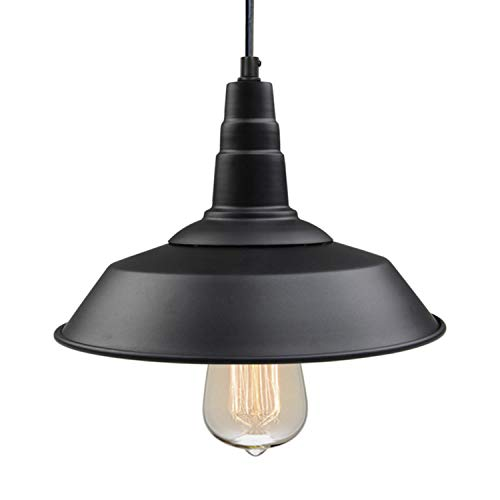LNC Pendant Lighting for Kitchen Island, Black Barn Hanging Lamp with Paint Baking Finish for Dining Room, Bar Counter, A0190701