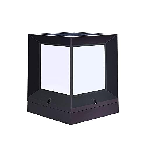 KAIKEA Solar Die-cast Aluminum Post Cap Lights, Outdoor Post Cap Square Fence Light, Athway Patio Wooden Posts Home Lmprovement Post Light Fixtures Light For Fence (color: Black)