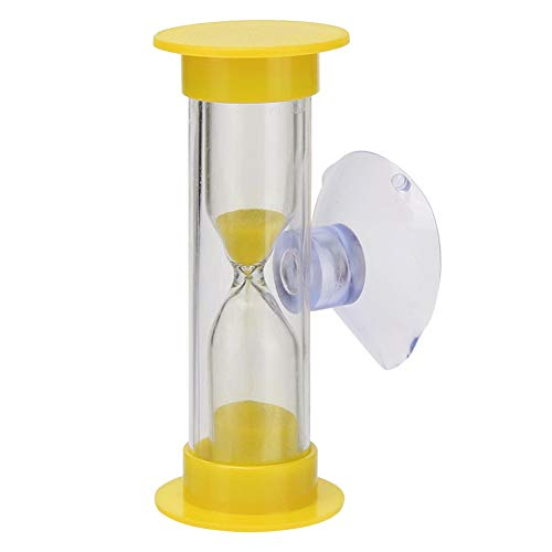 FUNRE 1Pcs 2 Minuten Miniglas Sand Uhr for die Zähne Gadget Zahnbürste Swivel Sand Timer Dusche Timer Multicolor Kinder Sanduhr (Color : Yellow)