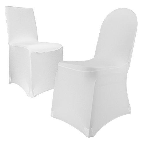 Stuhlhusse Stretch bügelfrei, Stuhlbezug, Universal für runde und eckige Stuhllehne (Weiß)