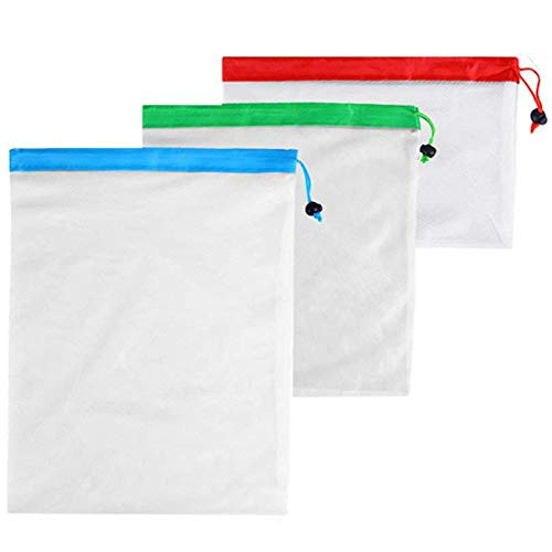 LOUTOC Reusable Mesh Produce Bags, Washable Grocery Vegetable Shopping Bags ECO Green Bags - Large Medium Small Size (12 packs)