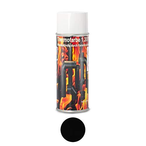 Ofenlack 1200°C Ofenspray Ofenfarbe Thermolack Schwarz matt Hitzebestängier Lack Smoker, Kamin, Kachelofen Auspufflack 400ml (ad-ideen)