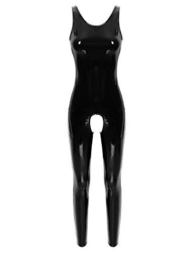 Agoky Damen Ouvert-Body Wetlook Bodysuit Kunstleder Ganzkörperanzug Jumpsuit Latex Overall Ärmellos Trikot Reizvoll Einteiler Clubwear Schwarz XXL