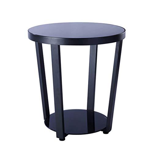 LF- Table à thé Table d'appoint Meuble d'appoint Simple canapé Côté Salon Table d'appoint Balcon Table Ronde en Verre de Fer Élégant
